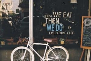 """alt="""" Window sign saying that you have to eat for nution so you are able to do things"""""""